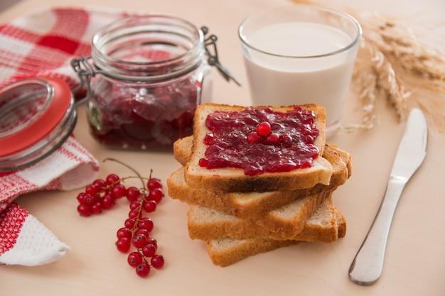 朝食と牛乳のジャム付きパン