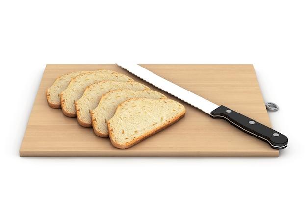 白い背景の上の木の板の上にナイフでパン