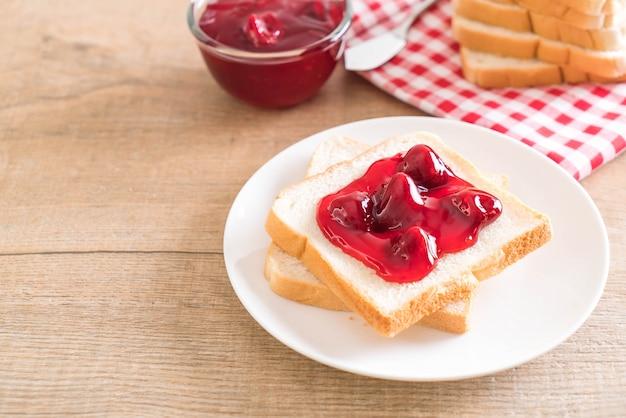 Bread with strawberry jam