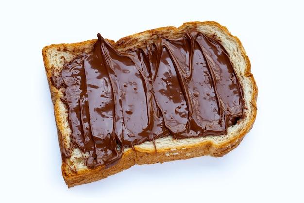 白い表面に甘いチョコレート ヘーゼル ナッツのパン。