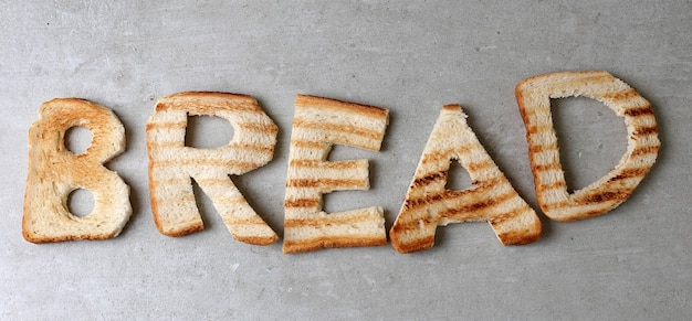 Bread word made with toasts