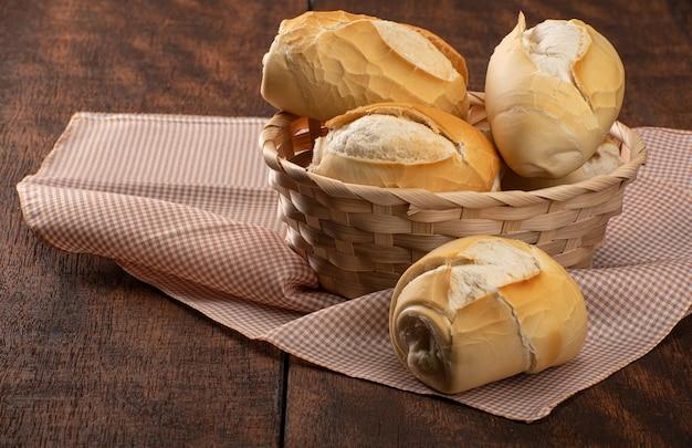 素朴な木の上の市松模様のテーブルクロスのバスケットのパン