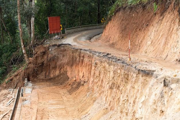Break of asphalt road on the mountain