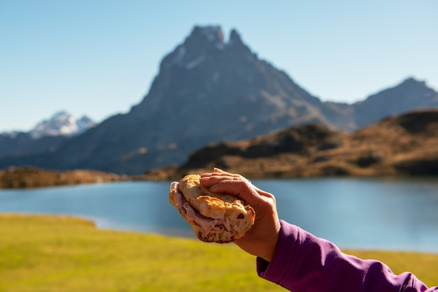 Break crust in the pyrenees mountain with the ossau peak at the bottom