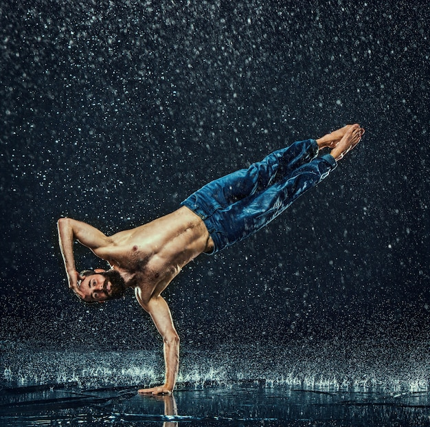 Break dancer in water