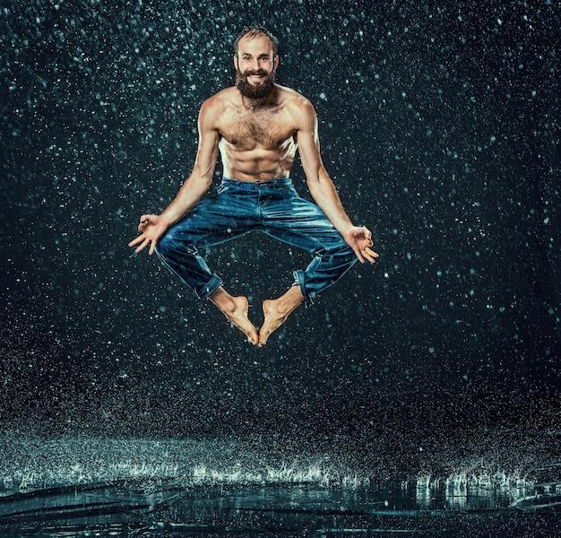 Break dancer in water
