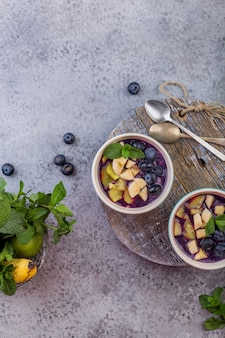 Breakfast acai smoothie bowl for healthy lifestyle