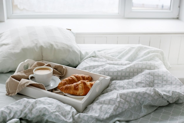 Breakfast in the bed in the morning