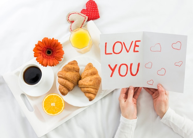 Breakfast in bed for mother Free Photo