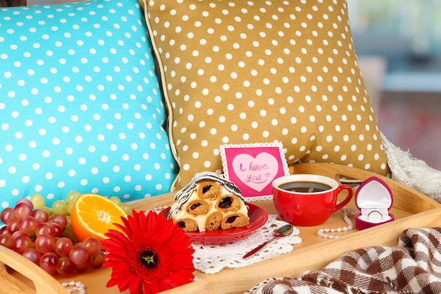 Breakfast in bed on valentine's day