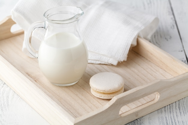 Breakfast in bed with tray with milk