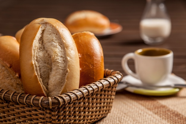 Breakfast at brazil with traditional french bread, traditional bread in brazil.