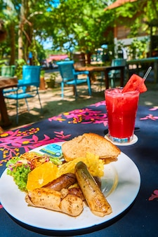 Breakfast at a cafe on a tropical island