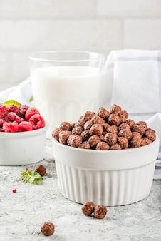 아침 식사 시리얼, 우유 유리, 나무 딸기 및 회색 돌에 민트
