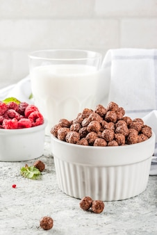 Breakfast cereal, milk glass, raspberries and mint on grey stone