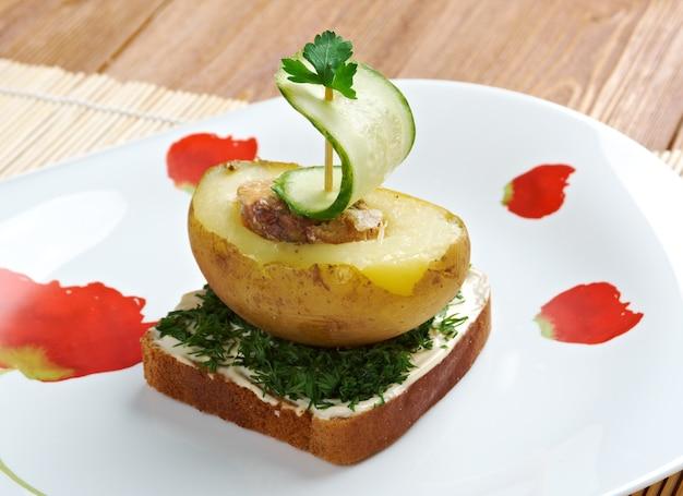 Breakfast for child.yacht made ã¢â€â‹ã¢â€â‹of potatoes and cucumber