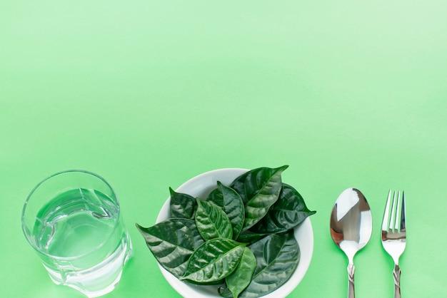 Breakfast dish set plate fork spoon ingredients.
