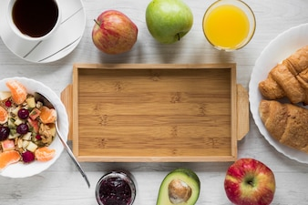Breakfast food around tray