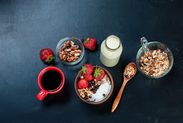 Breakfast granola, a cup of coffee