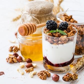 Breakfast - granola, yogurt, berries, nuts, honey, wheat