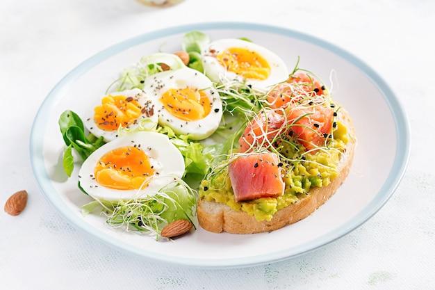 朝ごはん。トーストにアボカドとサーモン、ゆで卵、ハーブ、チアシードをコピースペースのある白いプレートに載せたヘルシーなオープンサンドイッチ。健康的なプロテインフード。