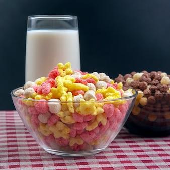 Завтрак в тарелке и стакане молока