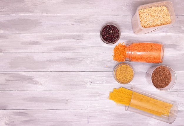 Breakfast items, preserved in resealable plastic jars, cereals, pasta
