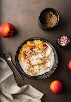 Breakfast natural yogurt with fruit and muesli
