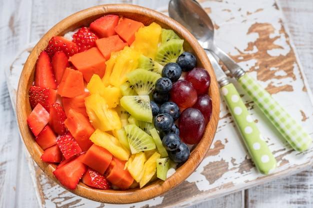 Овсяная каша на завтрак для детей с радужными фруктами
