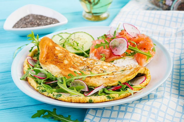 Breakfast. omelette with radish, green arugula and sandwich with salmon on white plate