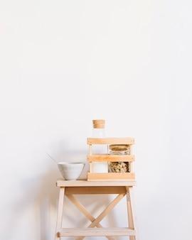 Breakfast on stool