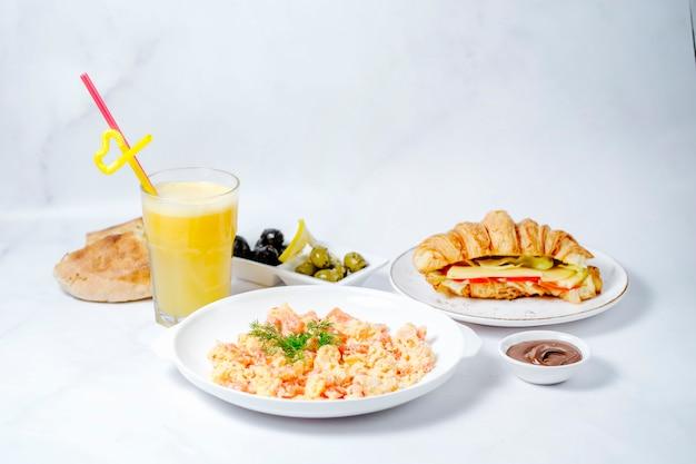 Breakfast set with various food