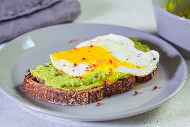 Тост на завтрак с авокадо и жареным яйцом на серой тарелке.