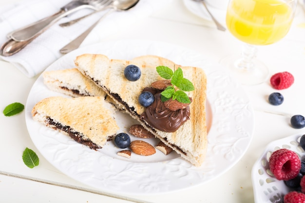 Breakfast toast with chocolate nut paste