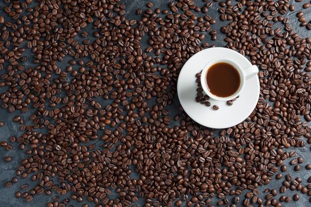 香り高いブラックコーヒーと一緒に朝食、おはようございます、一日の素晴らしいスタートです。コーヒーブレイク、コピースペース