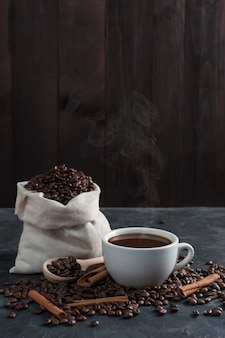 Breakfast with aromatic black coffee, good morning