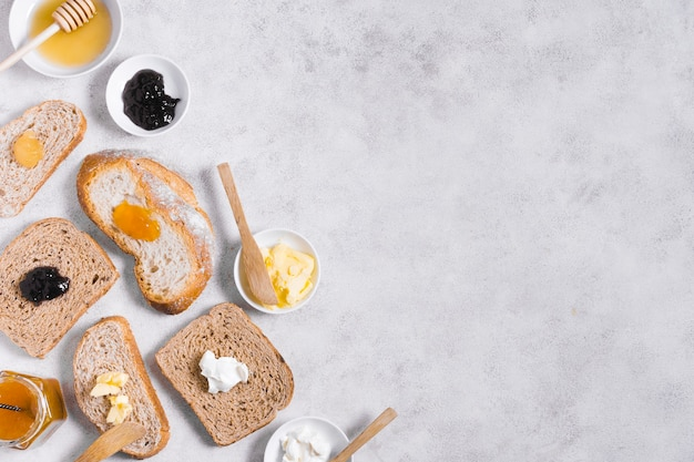 Breakfast with bread and jam and copy space