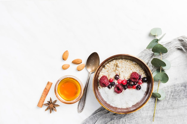 Breakfast with cereals and fruits