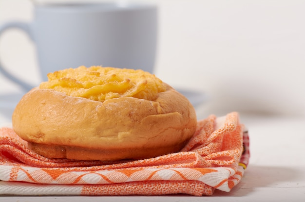 Breakfast with coconut cream bun