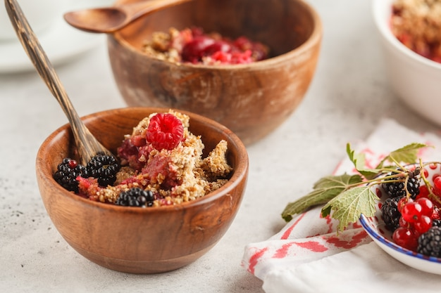 Breakfast with coffee and crumble pie, white background, healthy breakfast concept.