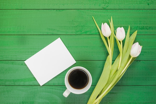 Breakfast with coffee cup and flowers