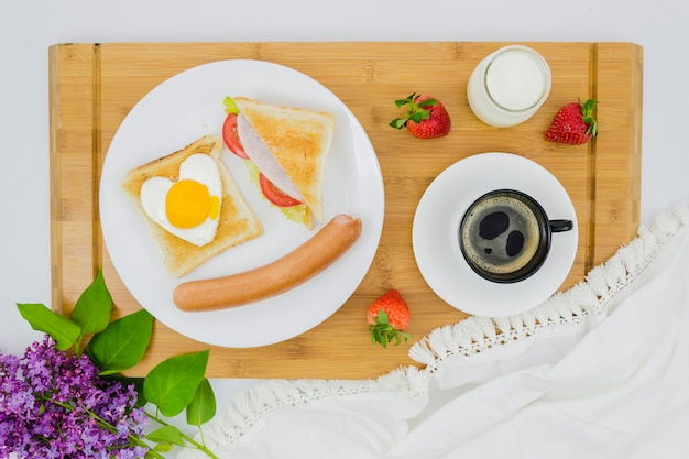 Breakfast with coffee cup and fruit