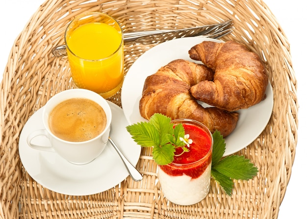 Breakfast with coffee and orange juice