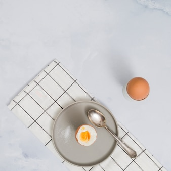 Breakfast with hard boiled eggs