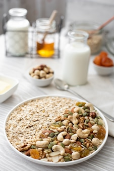 Breakfast with oatmeal, nuts and seeds