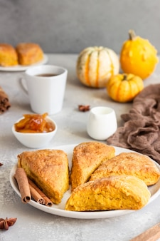 Breakfast with spicy pumpkin scones, a cup of tea and milk.