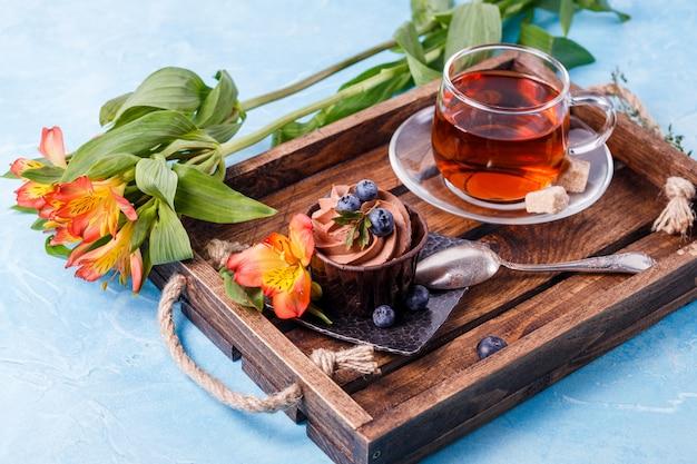 Breakfast on wooden tray