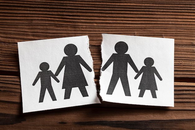Breaking relationships divorce in a family with children paper is torn in half with
