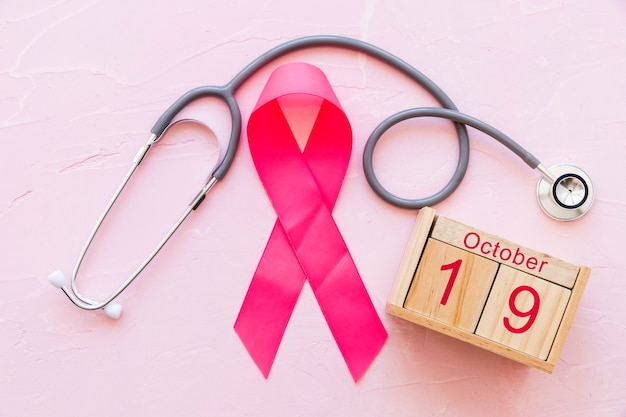 Breast awareness ribbon with 19th october wooden box and stethoscope on pink backdrop