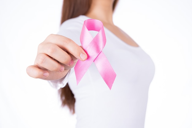 Breast cancer awareness ribbon on woman chest isolated